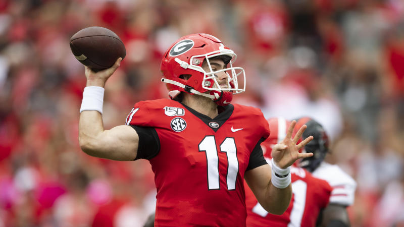 Georgia quarterback Jake Fromm passes against Arkansas State during an NCAA football game on Saturday, Sept. 14, 2019 in Athens, Ga. (AP Photo/John Amis)