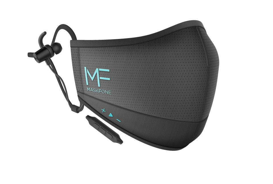This image released by Hubble Connected shows the MaskFone. It comes with wireless earbuds attached and built-in volume controls. The black, breathable fabric is water resistant. Not on a call or listening to music? It doubles as a voice amplifier for mask-on conversation and comes in two sizes with replaceable filters. Available at MaskFone.com and Amazon. From $49.99. (Hubble Connected via AP)