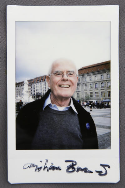 The Sunday, April 2, 2017 photo shows 75-years old Christian, his wish for the future in Europe is: 'I know very well what borders mean and how senseless borders are, for me Europe is a revelation'. The image is a reproduction of an image taken with an instant film camera during a demonstration of the 'Pulse of Europe' movement in Berlin. It's part of a series on participants in the demonstration where they were asked to put down name, age and their main wish for the future in Europe. (AP Photo/Markus Schreiber)