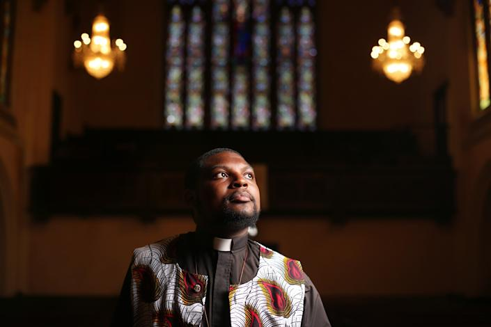 "Eddie Anderson is the pastor of McCarty Memorial Christian Church in the West Adams district of L.A. Anderson, whose church hosts Black Lives Matter meetings, believes it is important for clergy to march alongside activists in a nonviolent but forceful manner. <span class=""copyright"">(Dania Maxwell / Los Angeles Times)</span>"