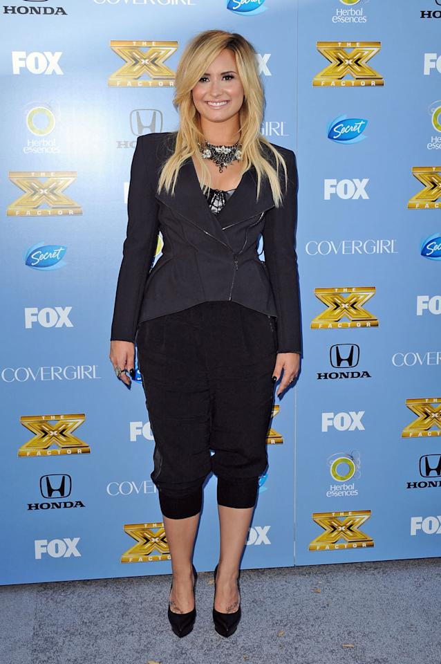 "Demi Lovato arrives at Fox's ""The X Factor"" Season 3 premiere party at Ciccone Restaurant on September 5, 2013 in West Hollywood, California."