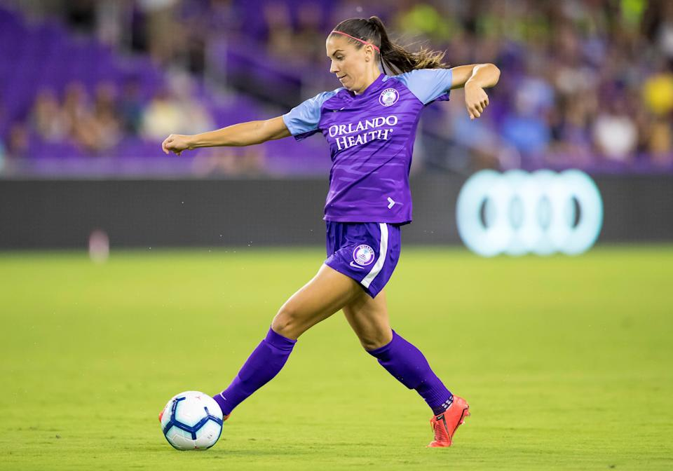 ORLANDO, FL - APRIL 27: Orlando Pride forward Alex Morgan (13) during the NWSL soccer match between the Orlando Pride and Utah Royals  on April 27, 2019 at Orlando City Stadium in Orlando, FL. (Photo by Andrew Bershaw/Icon Sportswire via Getty Images)