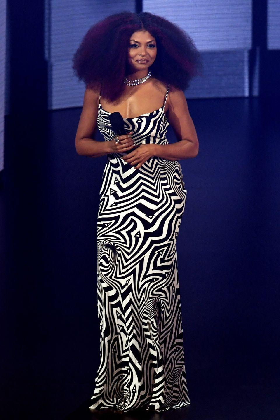 <p><strong>22 November </strong>Taraji P. Henson hosted this year's American Music Awards wearing the most statement ensembles, like this patterned Area dress. </p>