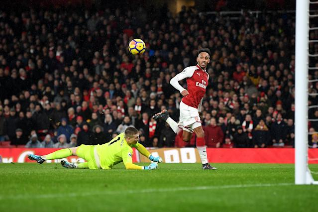 Pierre-Emerick Aubameyang scores his first goal for Arsenal. (Getty)