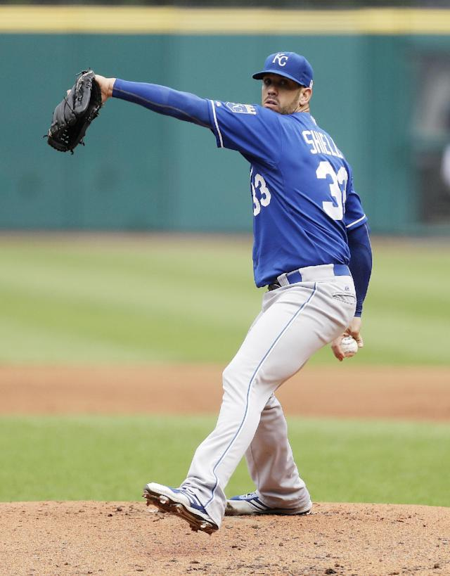 Kansas City Royals starting pitcher James Shields delivers in the first inning of a baseball game against the Cleveland Indians, Wednesday, Sept. 11, 2013, in Cleveland. (AP Photo/Tony Dejak)
