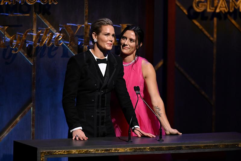 NEW YORK, NEW YORK - NOVEMBER 11: Ali Krieger and Ashlyn Harris speak onstage at the 2019 Glamour Women Of The Year Awards at Alice Tully Hall on November 11, 2019 in New York City. (Photo by Jamie McCarthy/Getty Images for Glamour)