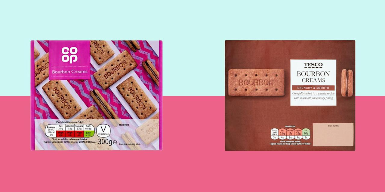 """<p>The beloved <a href=""""https://www.goodhousekeeping.com/uk/food/recipes/a536864/bourbons-biscuits/"""" target=""""_blank"""">Bourbon biscuit</a>, which also goes by the name of Bourbon Creams or just Bourbons, has quite a few interesting facts associated with it. </p><p>Like, the reason behind the holes in the biscuit – a distinct-looking feature to a <a href=""""https://www.goodhousekeeping.com/uk/food/recipes/a29812400/giant-bourbon-biscuit/"""" target=""""_blank"""">Bourbon</a> biscuit – actually helps to allow steam to escape, resulting in a sturdier, less crumbly biscuit. </p><p>Or that Bourbon biscuits have no correlation with Bourbon Whiskey, but they were the very first biscuit to be enjoyed in space by astronaut Buzz Aldrin. </p><p>They are a firm favourite in the UK. Two perfectly sturdy and chocolatey rectangular biscuits, sandwiching a rich chocolate-flavoured cream. </p><h3 class=""""body-h3"""">How we test:</h3><p>We looked for a balanced sweetness against the rich cocoa flavours and an inviting crumbly yet firm texture from the biscuit, complemented by the creamy icing in the middle. </p><p>We tested 10 Bourbon biscuits from all the grocers and well-known brands to find your next chocolate fix.</p>"""