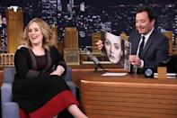 """<p>Before performing new song """"Water Under the Bridge"""" live for the first time, Adele sat down with Jimmy Fallon to play a game of """"<a href=""""https://screen.yahoo.com/popular/adele-plays-box-lies-tonight-091022420.html"""" data-ylk=""""slk:Box of Lies;outcm:mb_qualified_link;_E:mb_qualified_link;ct:story;"""" class=""""link rapid-noclick-resp yahoo-link"""">Box of Lies</a>"""" (spoiler alert: she's not a very good liar) and talk <i>25. </i>She wore a black and red dress from Valentino's Spring/Summer 2016 collection. <i>Photo: Getty Images</i></p>"""