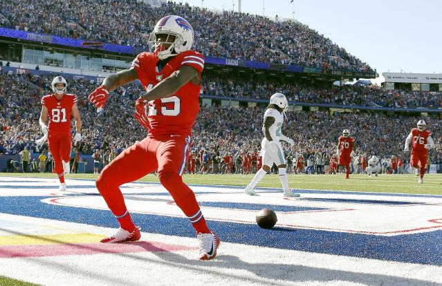 Buffalo Bills wide receiver John Brown celebrates his touchdown catch against the Miami Dolphins in the second half of an NFL football game, Sunday, Oct. 20, 2019, in Orchard Park, N.Y. (AP Photo/Ron Schwane)
