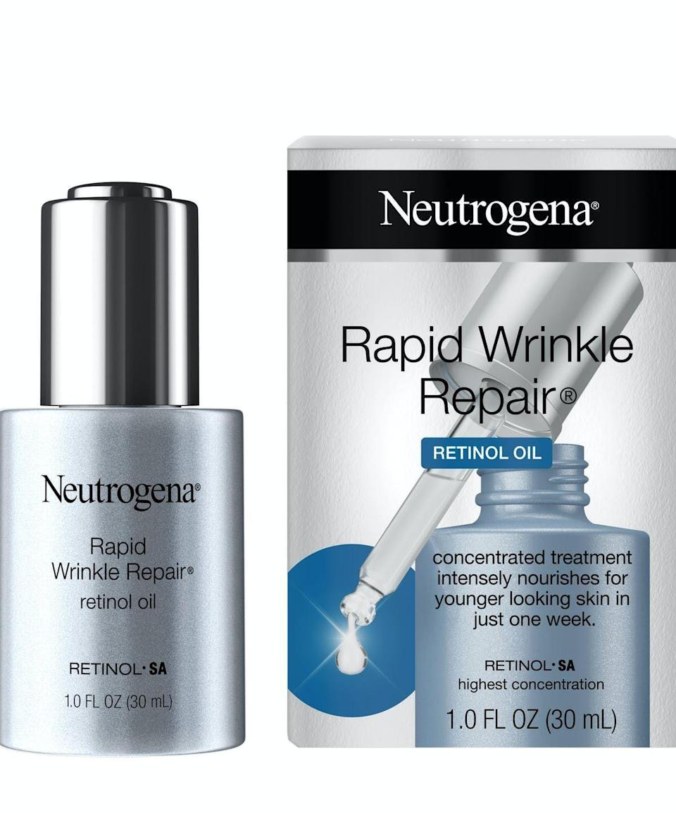 """<p><strong>Neutrogena</strong></p><p>amazon.com</p><p><strong>$20.43</strong></p><p><a href=""""https://www.amazon.com/dp/B07GPZYZBC?tag=syn-yahoo-20&ascsubtag=%5Bartid%7C10051.g.36816284%5Bsrc%7Cyahoo-us"""" rel=""""nofollow noopener"""" target=""""_blank"""" data-ylk=""""slk:Shop Now"""" class=""""link rapid-noclick-resp"""">Shop Now</a></p><p>Retinol is one of the most powerful ingredients you can find in skincare, which also means your skin might hate it as first. While most retinols are intensely drying, this one is in oil-form so it hydrates while fading the look of wrinkles.</p>"""