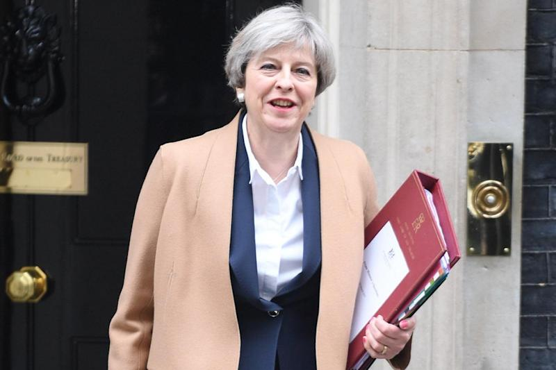 Theresa May leaving to deliver a statement on the Commons after quitting the EU. (Jeremy Selwyn)
