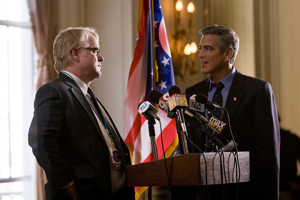 """<a href=""""http://movies.yahoo.com/movie/contributor/1800021779"""">Philip Seymour Hoffman</a> and <a href=""""http://movies.yahoo.com/movie/contributor/1800019715"""">George Clooney</a> in Columbia Pictures' <a href=""""http://movies.yahoo.com/movie/1810155680/info"""">The Ides of March</a> - 2011"""