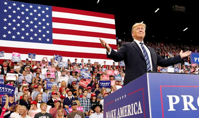 President Trump at a rally in Billings, Mont., earlier this month. (Photos: Kevin Lamarque/Reuters)
