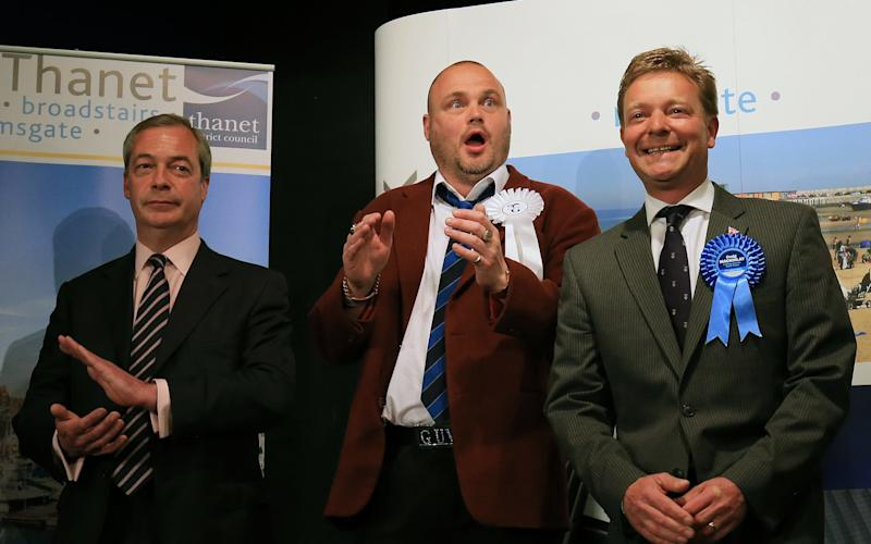 Nigel Farage, Al Murray and Craig Mackinlay - PA