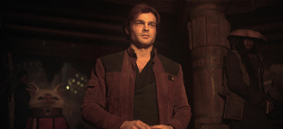 """This image released by Lucasfilm shows Alden Ehrenreich as Han Solo in a scene from """"Solo: A Star Wars Story."""" (Lucasfilm via AP)"""