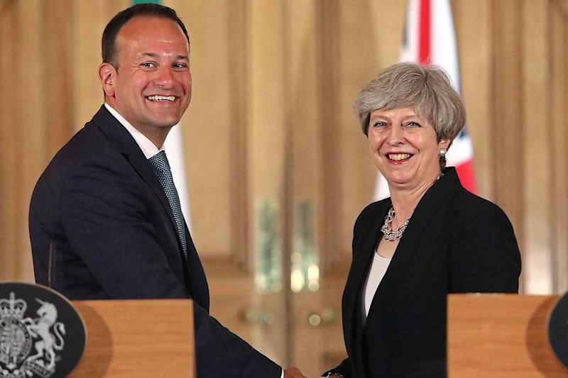 Talks: Theresa May and Ireland premier Leo Varadkar in June. The Prime Minister has stressed Britain will not turn its back on the unique relationship between the two countries: PA