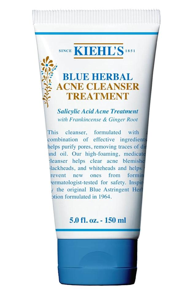 """<p>Clear out your pores with the <a href=""""https://www.popsugar.com/buy/Kiehl%27s%20Blue%20Herbal%20Acne%20Cleanser%20Treatment-472111?p_name=Kiehl%27s%20Blue%20Herbal%20Acne%20Cleanser%20Treatment&retailer=shop.nordstrom.com&price=22&evar1=bella%3Auk&evar9=46418478&evar98=https%3A%2F%2Fwww.popsugar.com%2Fbeauty%2Fphoto-gallery%2F46418478%2Fimage%2F46418652%2FKiehl-Blue-Herbal-Acne-Cleanser-Treatment&list1=beauty%20products%2Ccleanser%2Cacne%2Cskin%20care&prop13=api&pdata=1"""" rel=""""nofollow"""" data-shoppable-link=""""1"""" target=""""_blank"""" class=""""ga-track"""" data-ga-category=""""Related"""" data-ga-label=""""https://shop.nordstrom.com/s/kiehls-since-1851-blue-herbal-cleanser/4625964?country=US&amp;currency=USD&amp;mrkgcl=760&amp;mrkgadid=3313919291&amp;utm_content=33067509549&amp;utm_term=pla-259199189654&amp;utm_channel=shopping_ret_p&amp;sp_source=google&amp;sp_campaign=662927185&amp;rkg_id=0&amp;adpos=1o4&amp;creative=145518892495&amp;device=c&amp;matchtype=&amp;network=g&amp;gclid=EAIaIQobChMI862ynrDO4wIVh4CfCh028QU4EAQYBCABEgLTVfD_BwE"""" data-ga-action=""""In-Line Links"""">Kiehl's Blue Herbal Acne Cleanser Treatment</a> ($22). Those with oily skin will love its ability to banish both blackheads and whiteheads while sloughing off dirt and debris. </p>"""