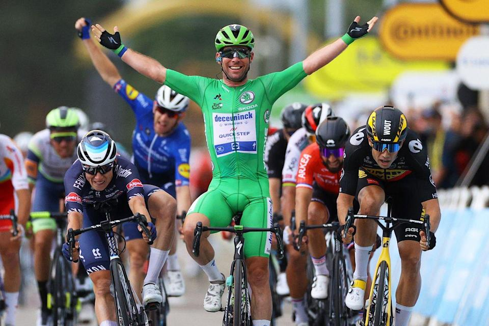 """<p><strong>Who's Winning the Tour</strong>?</p><p>Slovenia's Tadej Pogačar (UAE Team Emirates) remained the overall leader of the 2021 Tour de France after finishing safely in the leading peloton at the end of Stage 10 in Valence. The 22-year-old still leads Australia's Ben O'Connor (AG2R-Citroen) by 2:01 and Colombia's Rigoberto Uran (EF Education-Nippo) by 5:18.</p><p>Great Britain's Mark Cavendish (Deceuninck – Quick-Step) won the stage, putting the finishing touches on a dominant performance by his team. The 33rd stage victory of his career, <a href=""""https://www.bicycling.com/tour-de-france/a36930203/tour-de-france-2021-can-mark-cavendish-catch-eddy-merckx/"""" rel=""""nofollow noopener"""" target=""""_blank"""" data-ylk=""""slk:Cavendish now sits one win away from tying Eddy Merckx's record of 34"""" class=""""link rapid-noclick-resp"""">Cavendish now sits one win away from tying Eddy Merckx's record of 34</a>, and two away from ... well, we don't want to jinx it. </p><p>The final hour of racing was intense, with Quick Step driving the pace. At one point, the peloton broke into echelons on the windswept run-in to finish, briefly distancing Slovenia's Tadej Pogačar (UAE Team Emirates), but the Tour's main favorites came back together before the finish. The final sprint was a masterclass in how to lead-out a field sprint, with Quick Step—and Cavendish—taking everyone to school. Belgians Wout van Aert (Jumbo-Visma) and Jasper Philipsen (Alpecin-Fenix) finished second and third.</p><p><strong>Who's Really Winning the Tour?</strong></p><p>Of the riders chasing Pogačar (or more realistically, seeking to join him on the Tour's final podium), Colombia's Rigoberto Uran (EF Education-Nippo), Denmark's Jonas Vingegaard (Jumbo-Visma), and Ecuador's Richard Carapaz (INEOS Grenadiers) were the quickest to pounce when Pogačar began to struggle in the crosswinds near the end of the stage. Vingegaard was particularly aggressive, riding alongside van Aert to try and force a selection. The Dane is one of t"""