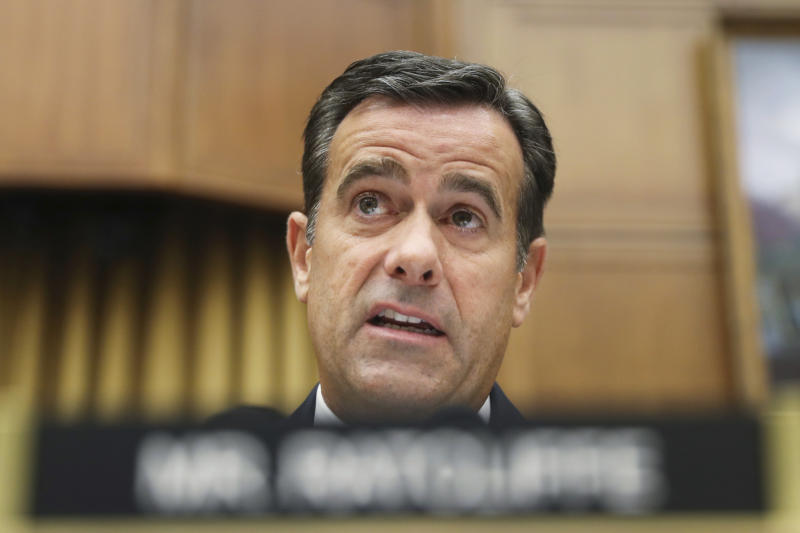 FILE - In this Wednesday, July 24, 2019, file photo, Rep. John Ratcliffe, R-Texas., questions former special counsel Robert Mueller as he testifies before the House Intelligence Committee hearing on his report on Russian election interference, on Capitol Hill in Washington. President Donald Trump says John Ratcliffe, his pick for national intelligence director, to stay in Congress, cites unfair media coverage. (AP Photo/Andrew Harnik, File)