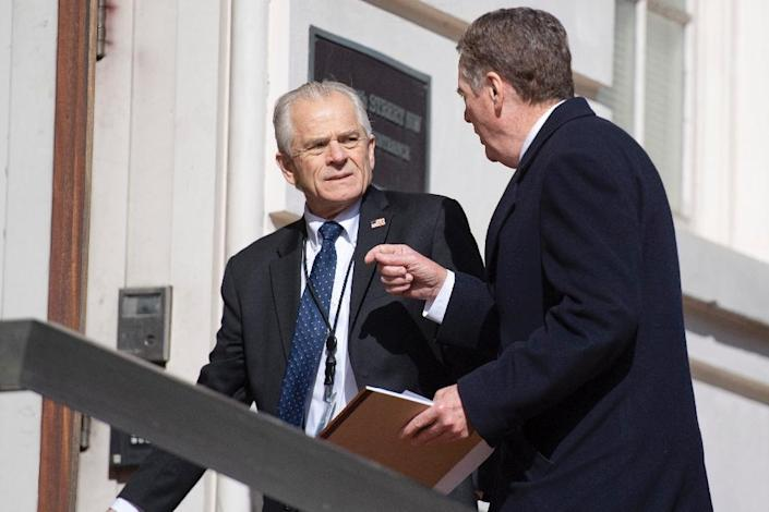 US Trade Representative Robert Lighthizer (R) and White House Director of Trade and Manufacturing Policy Peter Navarro, have demanded far-reaching changes to Chinese industrial policy (AFP Photo/Jim WATSON)