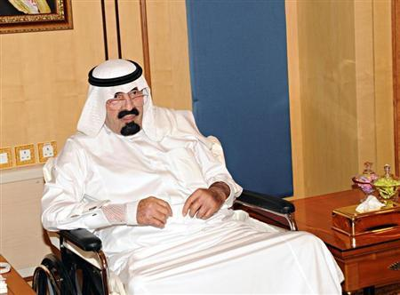 Saudi Arabia's King Abdullah meets visitors in Riyadh