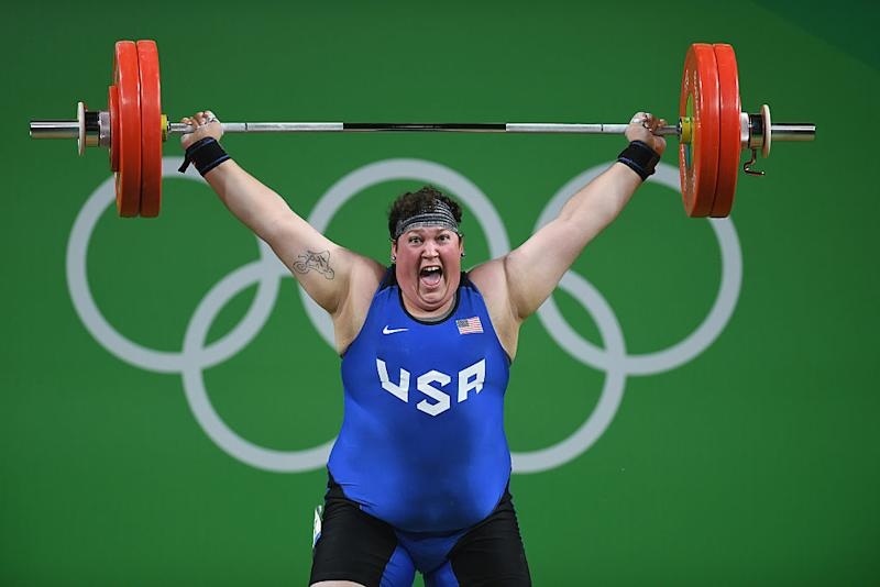 An ecstatic Sarah Robles lifts her way to Olympic history. (Photo: Getty)