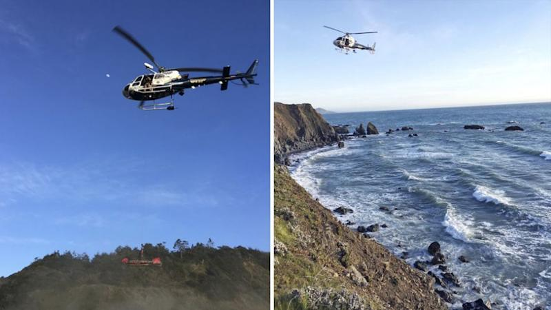 A helicopter scours the scene as investigators try and understand what happened to the three missing children. Source: AP