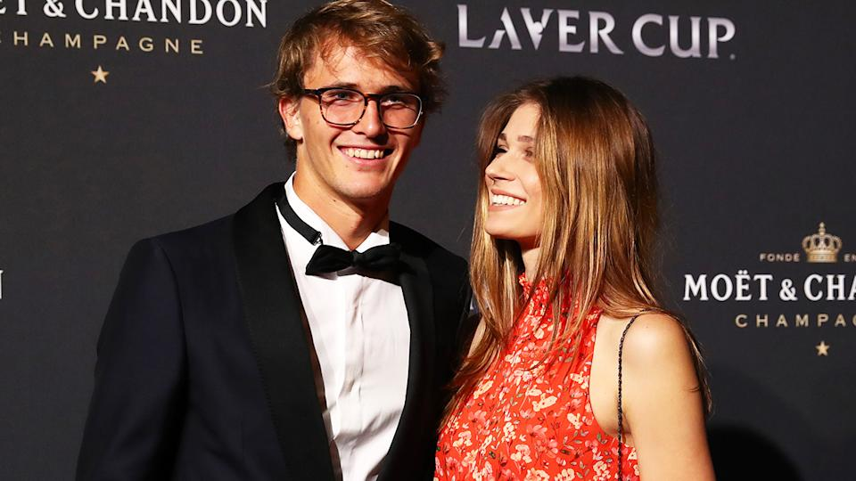 Alexander Zverev and Olga Sharypova, pictured here at the Laver Cup Gala in 2019.