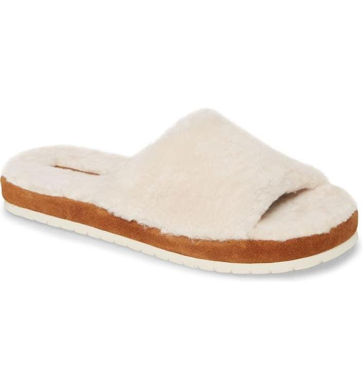 <p>Pair this <span>Vince Kalina Genuine Shearling Slipper</span> ($75) with all your spring neutrals. </p>