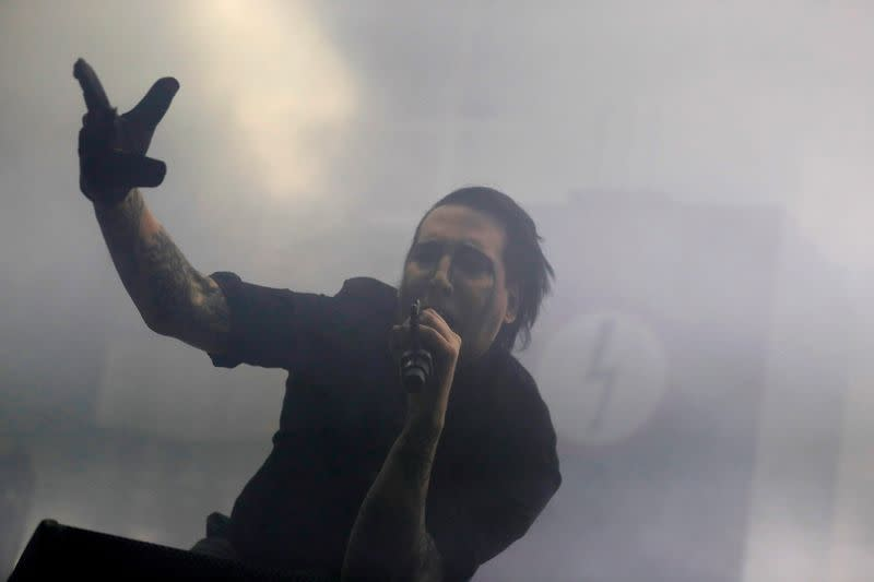 FILE PHOTO: Musician Marilyn Manson performs during a concert at Campo Pequeno bullring in Lisbon
