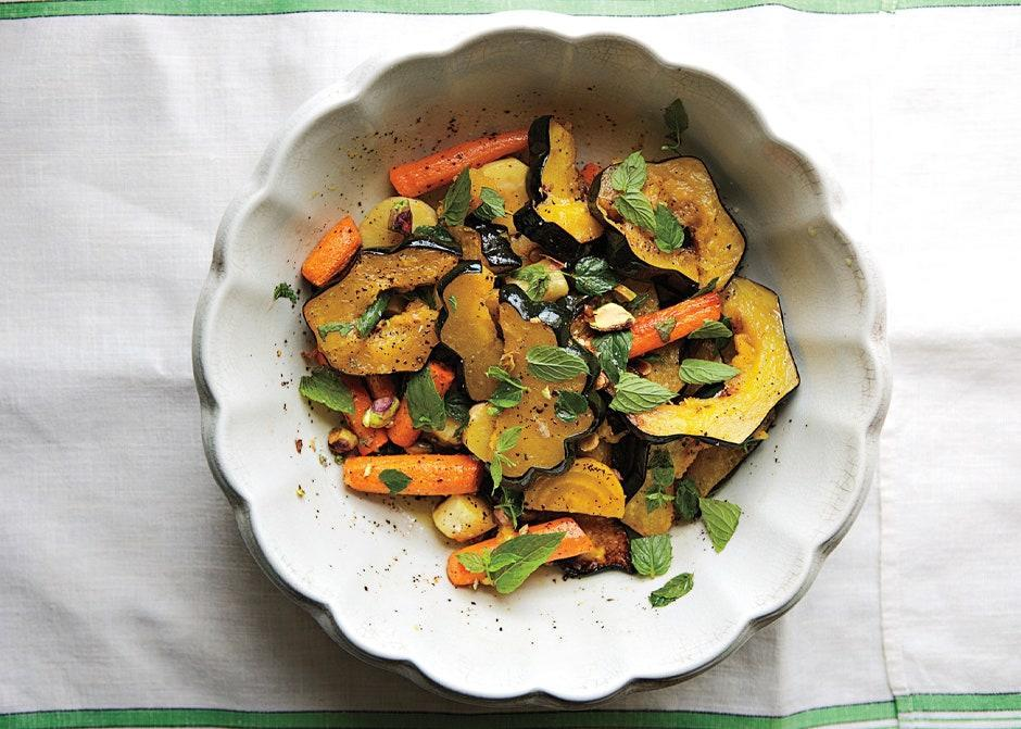 "A great way to use up different winter vegetables that you might have around. Feel free to increase the amount of some and eliminate others, depending on your preference, but make sure to cut them into similar sizes so they'll cook in roughly the same amount of time. <a href=""https://www.bonappetit.com/recipe/roasted-root-vegetable-salad-with-mint-and-pistachios?mbid=synd_yahoo_rss"" rel=""nofollow noopener"" target=""_blank"" data-ylk=""slk:See recipe."" class=""link rapid-noclick-resp"">See recipe.</a>"
