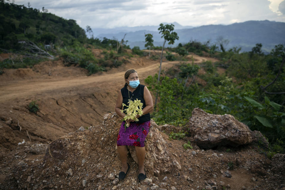 Dilma Murillo, 63, sits on a rock holding an Izote flower at the site of her home destroyed by a landslide triggered by hurricanes Eta and Iota in the village of La Reina, Honduras, Tuesday, June 22, 2021. On the night of Nov. 24, 2020, the town was wiped from the face of the earth. (AP Photo/Rodrigo Abd)