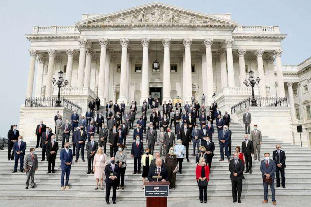 PHOTO: House Republicans gather on the East Steps of the House of Representatives to introduce their proposed legislative agenda, called the 'Commitment to America,' at the Capitol Sept. 15, 2020. (Chip Somodevilla/Getty Images)