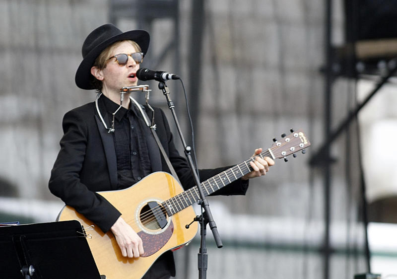 Beck performs at the 54th edition of the Newport Folk Festival in Newport, R.I. on Sunday, July 28, 2013. (AP Photo/Joe Giblin)