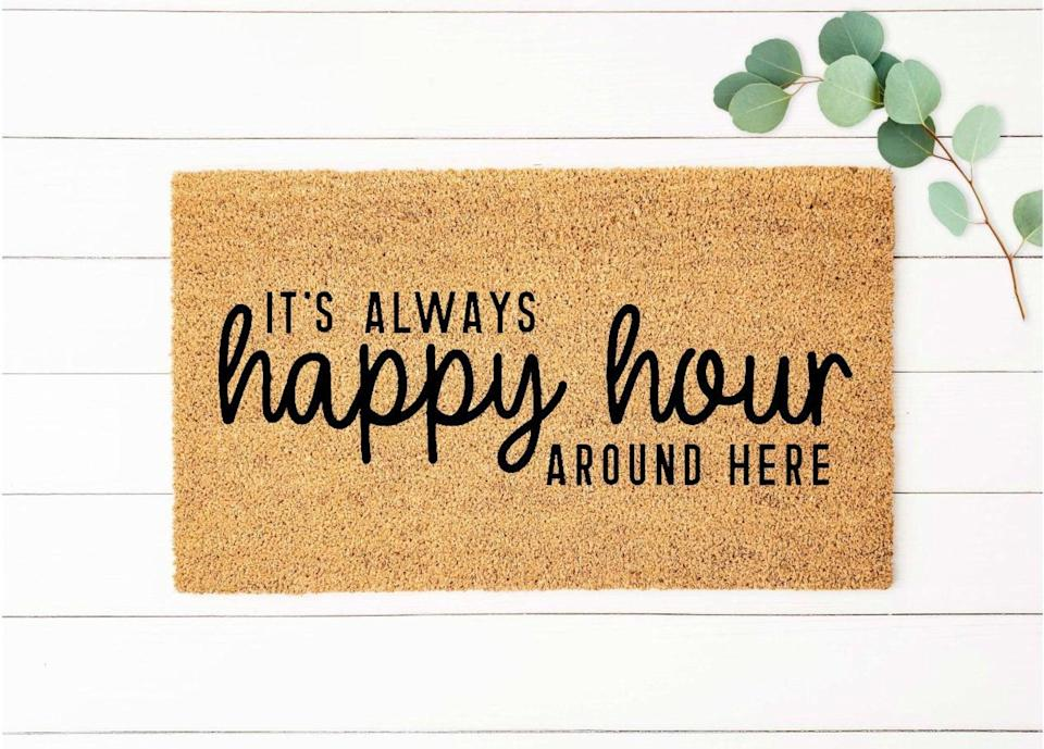 <p>This <span>Happy Hour Doormat</span> ($20+, originally $28+) is great for the ones who love their beer, wine and everything in between.</p>