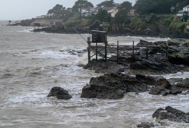 Waves hit the cost of Pornic, France, on Saturday as Storm Fabien approaches the Atlantic coast. (Getty Images)