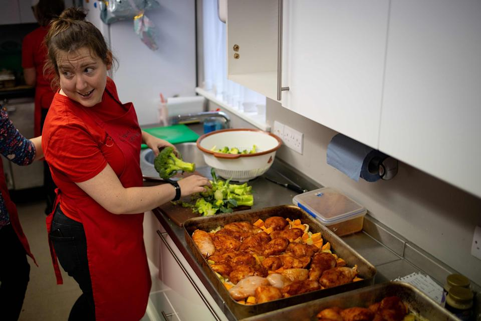 Meals being prepared for vulnerable families at a north London food bank (AFP via Getty Images)