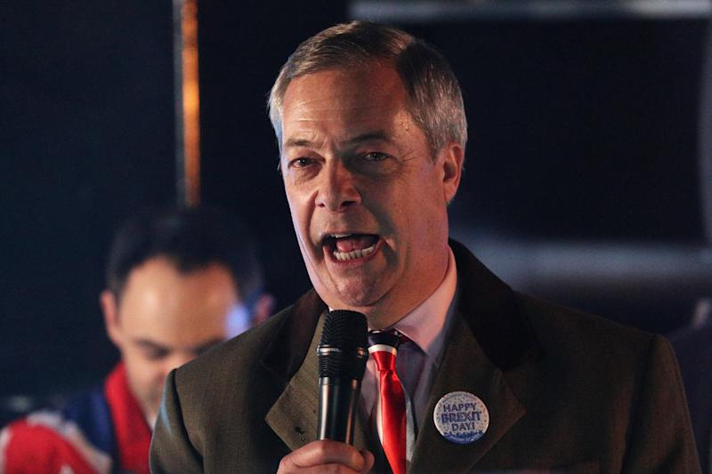 Nigel Farage speaks to pro-Brexit supporters in Parliament Square, London, as the UK prepares to leave the European Union, ending 47 years of close and sometimes uncomfortable ties to Brussels.