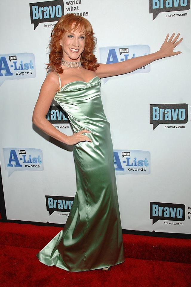 """Kathy Griffin flashes a smile that says she clearly knows she is no longer on the D-List. Jamie McCarthy/<a href=""""http://www.wireimage.com"""" target=""""new"""">WireImage.com</a> - June 4, 2008"""