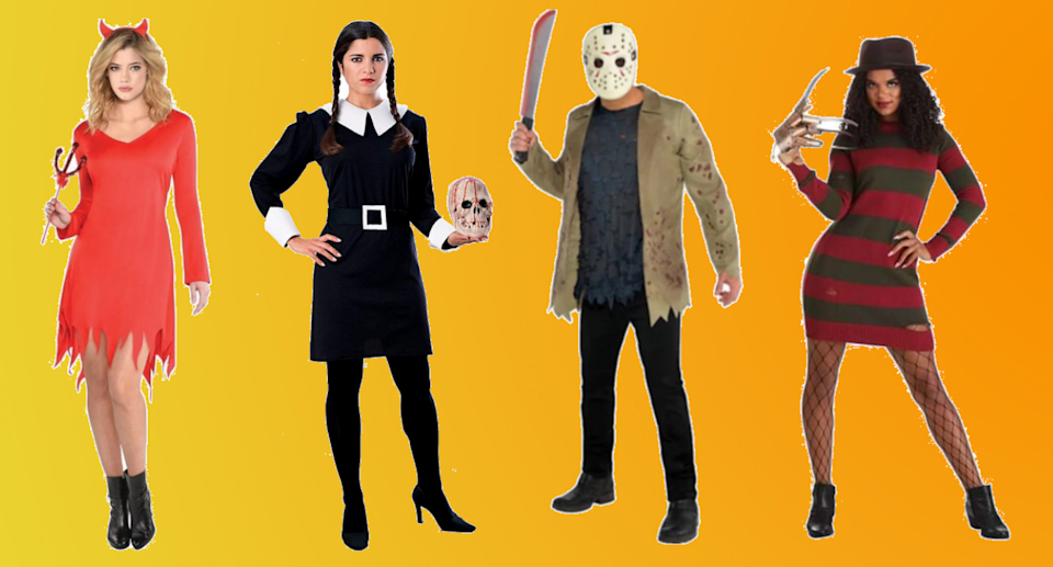 Collage of people wearing halloween costumes like devil, and Freddie Kreuger on an orange background.