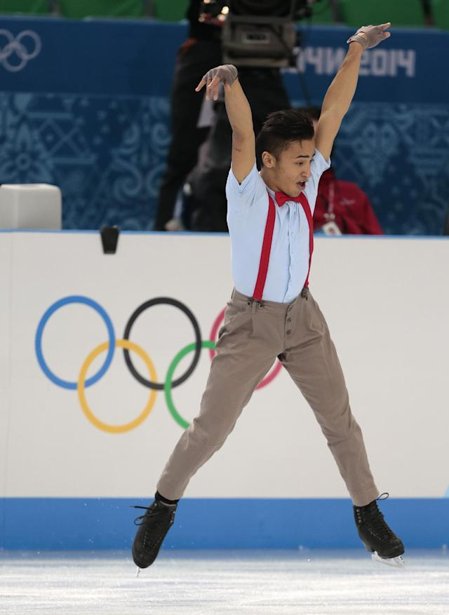 Florent Amodio of France competes in the men's free skate figure skating final at the Iceberg Skating Palace during the 2014 Winter Olympics, Friday, Feb. 14, 2014, in Sochi, Russia. (AP Photo/Ivan Sekretarev)