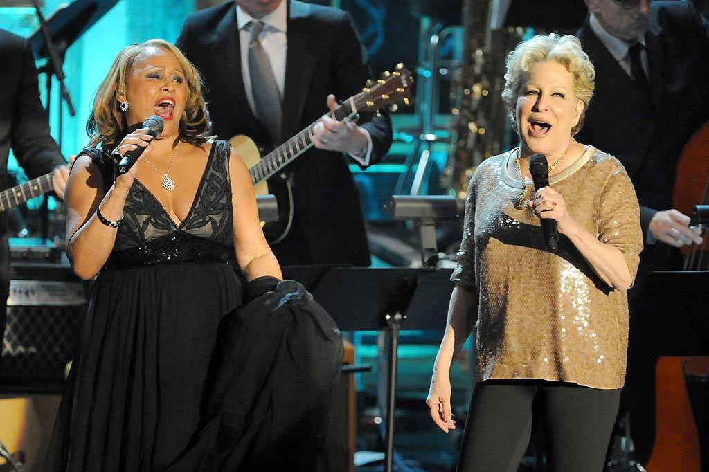 "Darlene Love belted out ""He's a Rebel"" with pal Bette Midler, who welcomed Love, this year's only female honoree, into the Hall of Fame. Jeff Kravitz/<a href=""http://www.filmmagic.com/"" target=""new"">FilmMagic.com</a> - March 14, 2011"