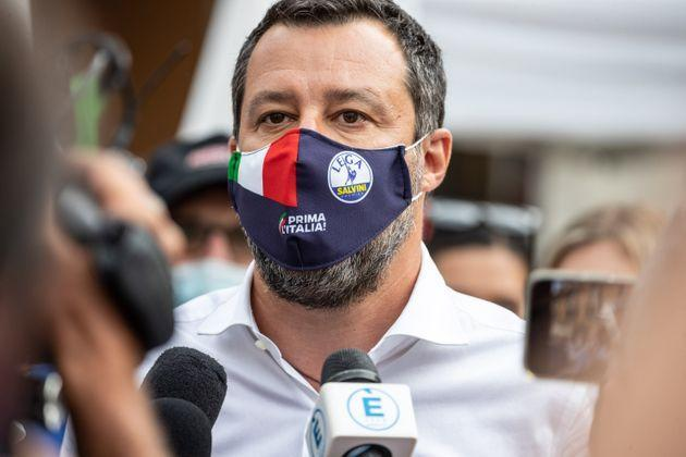Matteo Salvini senator and leader of the Lega party visits a square set up with gazebos to collect the signatures for the referendum for the reform of the justice system, in Brescia, Italy, on July 16, 2021. (Photo by Stefano Nicoli/NurPhoto via Getty Images) (Photo: NurPhoto via Getty Images)