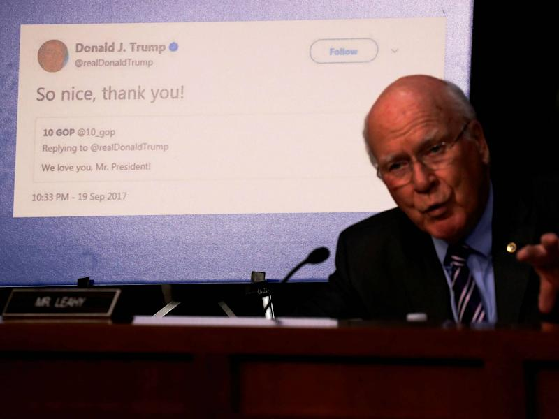 Senator Pat Leahy shows a re-tweet by President Trump of an alleged Russian troll account as representatives of Twitter, Facebook and Google testify before on Capitol Hill on October 31, 2017: REUTERS/Jonathan Ernst