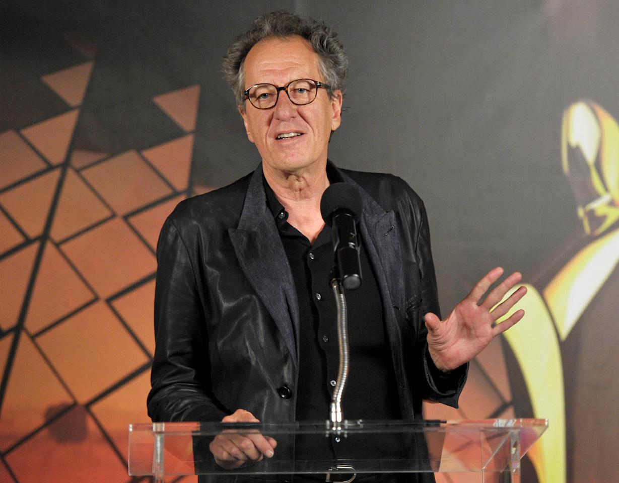 WEST HOLLYWOOD, CA - JANUARY 27:  AACTA president Geoffrey Rush attends the Australian Academy Of Cinema And Television Arts International Awards Ceremony at Soho House on January 27, 2012 in West Hollywood, California.  (Photo by John Shearer/Getty Images)