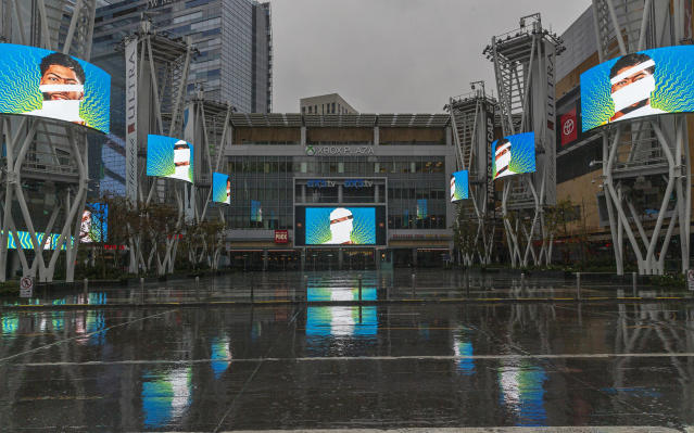 FILE - In this March 12, 2020, file photo, video screens show images of Los Angeles Lakers' Anthony Davis in a plaza across from Staples Center, home of two NBA teams, an NHL team and a WNBA team, in Los Angeles. There's a clear desire for basketball to resume but, perhaps mindful of how rushing back too quickly hurt other leagues around the world, the NBA seems to be taking very cautious baby steps back to the court. (AP Photo/Damian Dovarganes, File)
