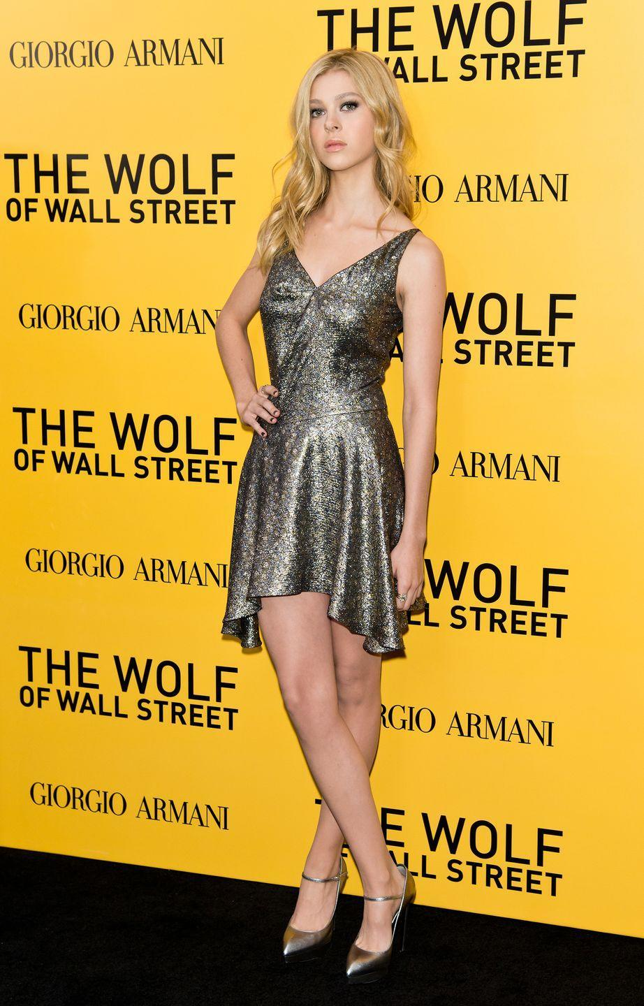 <p>Peltz decided to wear a gold lamé-effect mini dress with a V-neck cut at the bust, teamed with a pair of pointed-toe gold heels to the A-list premiere.</p>