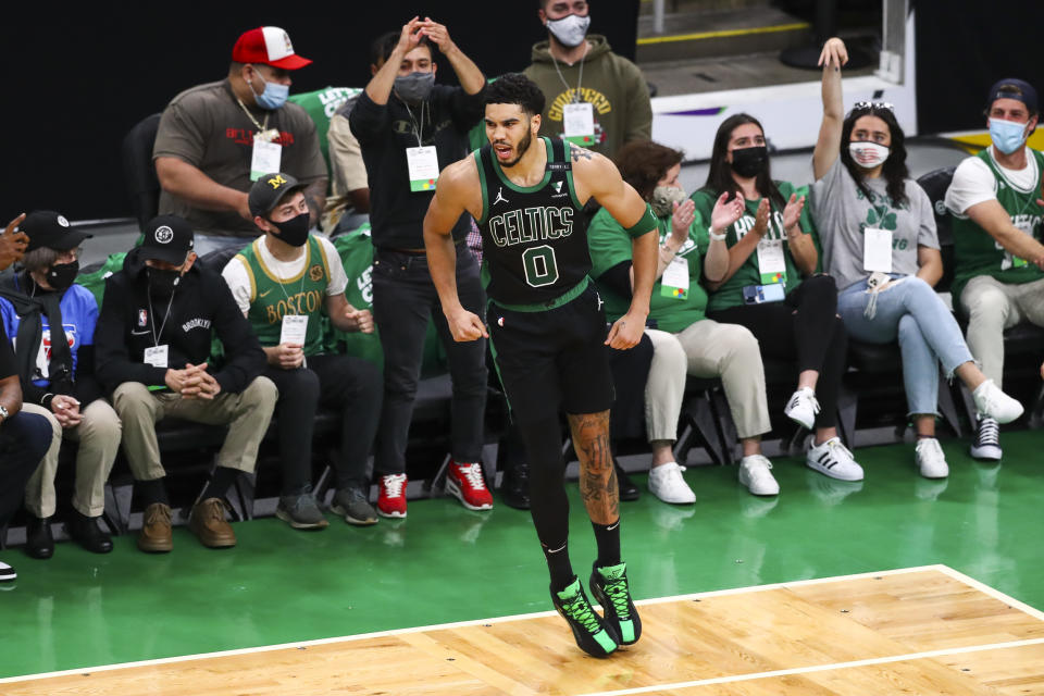 Jayson Tatum scored 50 points for the second time in four games. (Adam Glanzman/Getty Images)