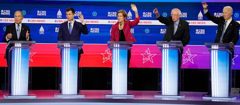 Democratic 2020 U.S. presidential candidates former New York Mayor Mike Bloomberg, former South Bend Mayor Pete Buttigieg, Senator Elizabeth Warren, Senator Bernie Sanders and former Vice President Joe Biden discuss an issue during the 10th Democratic 2020 presidential debate at the Gaillard Center in Charleston, South Carolina, on Feb. 25, 2020. (Photo: Jonathan Ernst / Reuters)