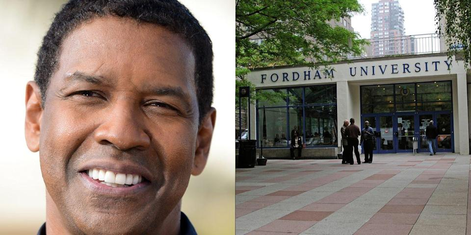 <p><strong>F</strong><strong>ordham University</strong></p><p>Washington earned a B.A. in drama and journalism from Fordham University. During his time there, he played basketball as a guard under coach P.J. Carlesimo.</p><p>In 2011, Washington gave $2 million to Fordham University to endow the Denzel Washington Chair in Theatre, and also a gift of $250,000 that established the Denzel Washington Endowed Scholarship, which is dedicated to an undergraduate student studying theatre.<br></p>